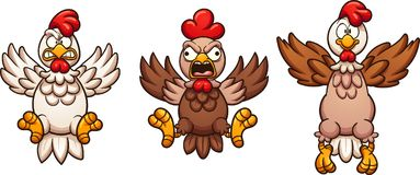 Flying cartoon chickens. With separate wings. Vector clip art illustration with simple gradients. Some elements on separate layers stock illustration