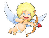 Flying Cartoon Cupid. One of a symbols of Valentine's Day stock illustration