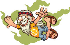 Flying cartoon hippie.