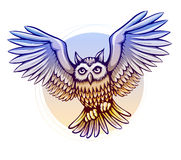 Flying cartoon owl with color wings Royalty Free Stock Images