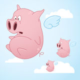 Flying Cartoon Pigs. A series of flying pigs going across the open sky Stock Images