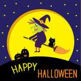 Flying cartoon witch and cat. Big moon. Happy Hall Stock Images