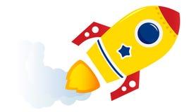 Flying cartoon yellow rocket Stock Photos