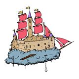 Flying castle ship Royalty Free Stock Photos