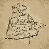 Flying castle ship Stock Images