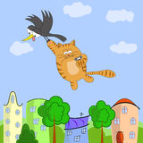 Flying cat. Journey of the crow, cat and mouse Stock Images