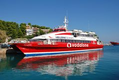 Flying Cat 5, Alonissos island. Hellenic Seaways catamaran ferry Flying Cat 5, moored at Patitiri harbour on the Greek island of Alonissos on September 27, 2012 stock photos
