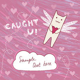 Flying cat with loving heart Royalty Free Stock Photo