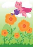 Flying Cat Watering Flower_eps vector illustration