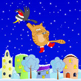 Flying cat. Winter journey of the crow, cat and mouse Royalty Free Stock Image