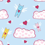 Flying cats with loving heart, seamless Stock Image