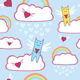 Flying cats with loving hearts and rainbow Stock Image