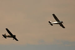 FLYING CESSNAS. Cessna-185 aircraft flying in the sky Stock Image