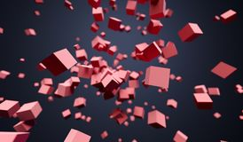 Flying Chaotic Cubes. 3D Rendering Of Abstract Flying Chaotic Cubes On Dark Background Royalty Free Stock Photo