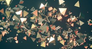 Flying Chaotic Metal Pyramids Background 3D Rendering. Flying Chaotic Metal Pyramids Particles Background 3D Rendering Royalty Free Stock Photography