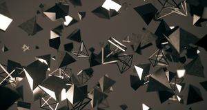 Flying Chaotic Metal Pyramids Background 3D Rendering. Flying Chaotic Metal Pyramids Particles Background 3D Rendering royalty free illustration