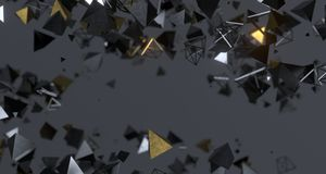 Flying Chaotic Metal Pyramids Background 3D Rendering. Flying Chaotic Metal Pyramids Particles Background 3D Rendering Stock Images