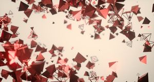Flying Chaotic Metal Pyramids Background 3D Rendering. Flying Chaotic Metal Pyramids Particles Background 3D Rendering stock illustration