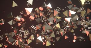 Flying Chaotic Metal Pyramids Background 3D Rendering. Flying Chaotic Metal Pyramids Particles Background 3D Rendering Royalty Free Stock Images