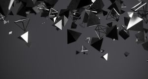 Flying Chaotic Metal Pyramids Background 3D Rendering. Flying Chaotic Metal Pyramids Particles Background 3D Rendering Royalty Free Stock Photo