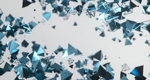 Flying Chaotic Metal Pyramids Background 3D Rendering. Flying Chaotic Metal Pyramids Particles Background 3D Rendering Stock Image