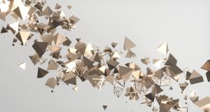 Flying Chaotic Metal Pyramids Background 3D Rendering. Flying Chaotic Metal Pyramids Particles Background 3D Rendering Stock Photos