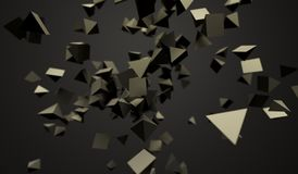 Flying Chaotic Pyramids. 3D Rendering Of Abstract Flying Chaotic Pyramids On Dark Background Stock Images