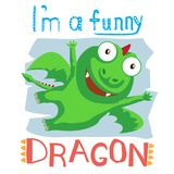 A flying, cheerful dragon Stock Images