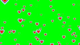 Flying cheerful hearts on green screen. Cute love video background for party, birthday celebration,. 4k video stock video