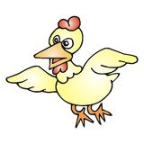 Flying chicken. Art illustration: cartoon of a flying chicken Royalty Free Stock Photo
