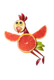 Flying chicken made of grapefruit Royalty Free Stock Photos