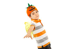 Flying child boy with bee wings. And pumpkin hat isolated on white background Royalty Free Stock Image