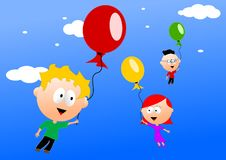 Flying children. Children with balloons in the air Royalty Free Stock Image