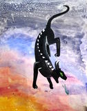 Flying the Chimera in the sky. Children's artwork Royalty Free Stock Images