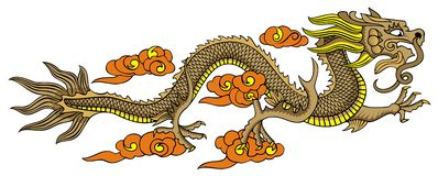 Flying Chinese dragon. Chinese dragon, element for design, vector illustration Royalty Free Stock Photos