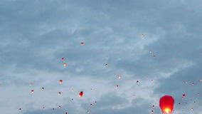 Flying chinese lanterns stock footage