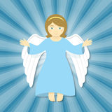 Flying Christmas Angel with Open Arms. Vector cartoon illustration of flying angel with open arms, smiling in the rays of light on a blue background. Christmas Stock Photo