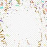Flying christmas confetti 2018, anniversary celebration, happy birthday party. Vector background Stock Photo