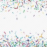 Flying christmas confetti, anniversary celebration, happy birthday party vector background.  Stock Images
