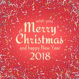 Flying christmas confetti, anniversary celebration, happy birthday party vector background.  Stock Image