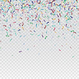 Flying christmas confetti, anniversary celebration, happy birthday party vector background.  Royalty Free Stock Photo