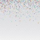 Flying christmas confetti, anniversary celebration, happy birthday party vector background.  Stock Photos