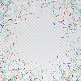Flying christmas confetti, anniversary celebration, happy birthday party vector background.  Royalty Free Stock Image