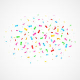 Flying christmas confetti, anniversary celebration, happy birthday party vector background. Flying glamour confetti for festive carnival, illustration glitter Royalty Free Stock Image