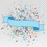 Flying christmas confetti with ribbon , anniversary celebration, happy birthday party vector background.  Royalty Free Stock Photo