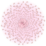 Flying from the circle of rose petals, sakura, cherries, with a rose in the middle. Whirlwind, wedding background Stock Images