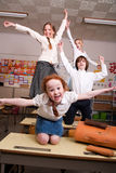 Flying in the classroom royalty free stock photos