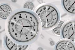 Flying Clocks Royalty Free Stock Photography