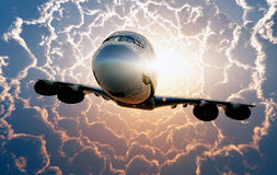 Flying in the clouds. Stock Photos