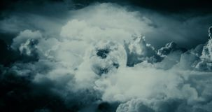 Flying through the Clouds to Moon stock footage